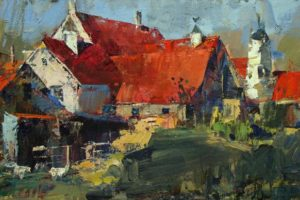 """Nowlin Farm"" by John Cook  Oil, 16x8"