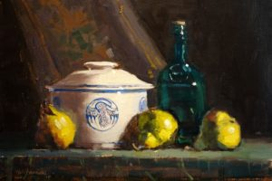 """Pears & Crock"" by Mark Farina  Oil, 11x15.5"