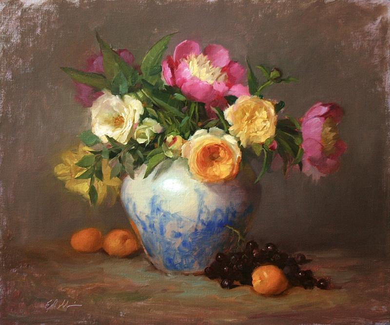 "Best Floral ""Joyful"" by Elizabeth Robbins Oil, 20x24"
