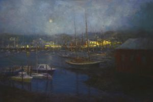 """Harbor Lights Camden"" by Mark Daly, Oil 24in. x 36in."