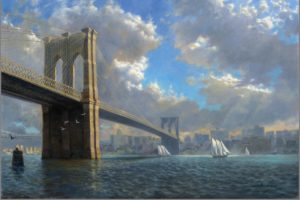 """Brooklyn Bridge"" by David Henderson, 24in x 36in, Oil"